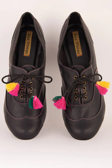 Black Embroidered Block Sandals With Tassels by Sole Stories