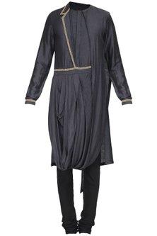 Black Embroidered Drape Kurta with Churidar Pants by Soltee By Sulakshana Monga Men