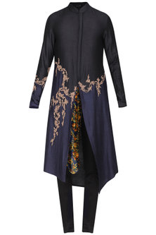 Black Asymmetrical Embroidered Kurta with Churidar Pants by Soltee By Sulakshana Monga Men