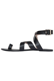 Black Criss Cross Ankle Sandals by Sole Stories