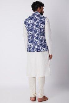 Cobalt Blue Floral Printed Jacket by SPRING BREAK