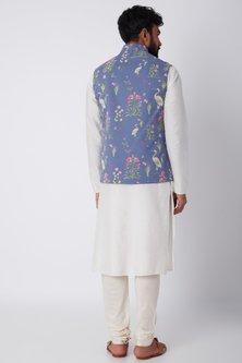 Sky Blue Swan Printed Bundi Jacket by SPRING BREAK