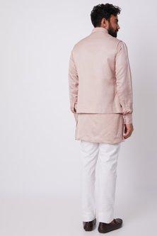 Blush Pink Bundi Jacket With Kurta Set by SPRING BREAK