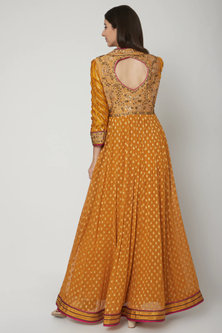Mustard Embroidered Anarkali Set by Shashank Arya