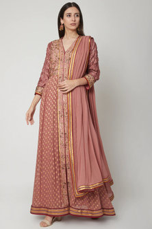 Peach Embroidered Anarkali Set by Shashank Arya