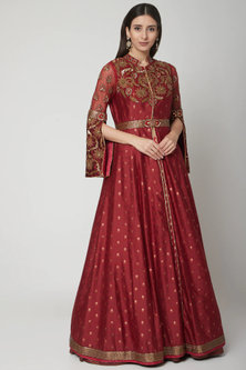 Maroon Embroidered Jacket With Skirt by Shashank Arya