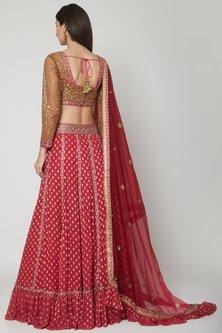 Fuchsia Embellished Lehenga Set by Shashank Arya
