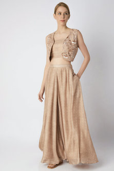 Beige Embroidered Jacket With Bustier & Gharara by 17:17