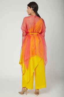 Yellow One Shoulder Top With Trousers & Draped Cover by Stephany