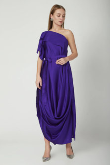 Purple One-Shoulder Dress With Belt by Stephany