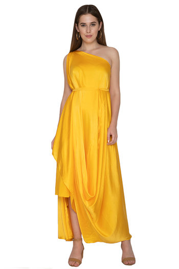 Yellow One Shoulder Dress With Belt by Stephany