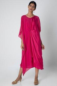 Fuchsia Midi Dress With Slip by Stephany