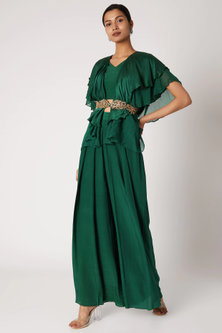 Emerald Green Crop Top With Pants & Belt by Shruti Ranka