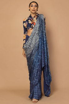 Navy Blue Embroidered & Printed Saree Set by Siddartha Tytler