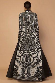 Black & Ivory Embroidered Achkan Jacket by Siddartha Tytler