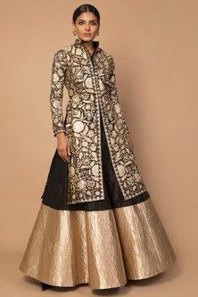 Gold Embroidered Jacket Lehenga Set by Siddartha Tytler