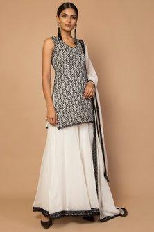 Black & White Embroidered Gharara Set by Siddartha Tytler