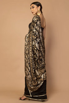 Black Embroidered Double Saree Set by Siddartha Tytler