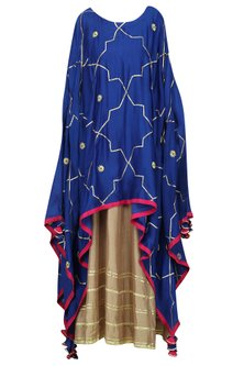 Indigo Asymmetrical Embroidered Cape with Gold Maxi Dress by The Silk Tree