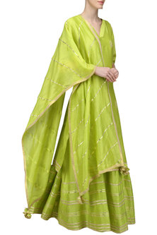 Lime Green Embroidered Anarkali Gown Set by The Silk Tree
