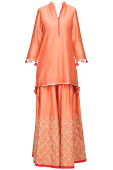 Peach Embroidered Kurta with Sharara Pants Set by The Silk Tree