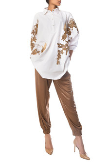 White Oversized Embroidered Shirt Dress by Siddartha Tytler