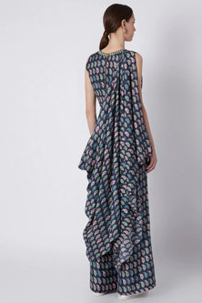 Midnight Blue Printed Crop Top With Palazzo Pants by SVA BY SONAM & PARAS MODI