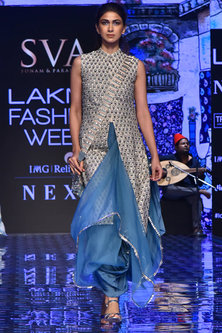 Beige Embroidered Jacket With Teal Blue Skirt by SVA BY SONAM & PARAS MODI-LAKMÉ FASHION WEEK S/R '20