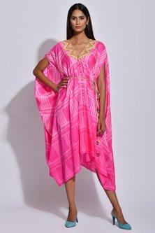 Pink & White Printed Cape by Swati Vijaivargie