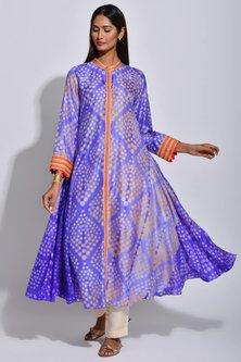 Purple & Orange Braided Printed Kurta by Swati Vijaivargie