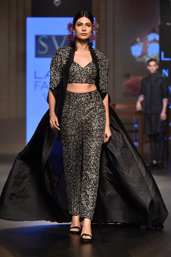 Black Floral Embroidered Cape with Crop Top and Pants by SVA BY SONAM & PARAS MODI
