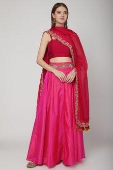 Fuchsia & Red Embroidered Lehenga Set by Swati Jain
