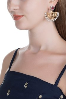 Gold & Black Rhodium Finish Zircon Pearl Earrings by Tanvi Garg