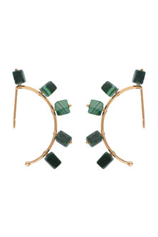 Gold Finish Malachite Stones Earrings by Tanvi Garg