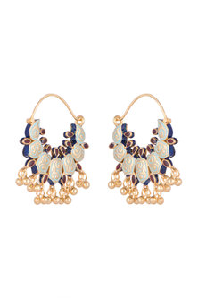 Gold Finish Meenakari Kundan Bali Earrings by Tanvi Garg