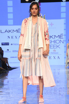 Multi-Colored Dress With Wrap Over Layer & Embroidered Over Layer by Tahweave-LAKMÉ FASHION WEEK S/R '20