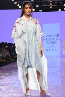 Powder Blue Embroidered Dress With Sheer Sides by Tahweave-LAKMÉ FASHION WEEK S/R '20