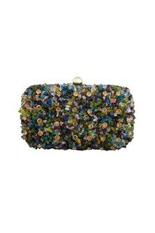 Multi Colored Beads Embellished Clutch by Tarini Nirula