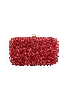 Red Stones Embellished Clutch by Tarini Nirula