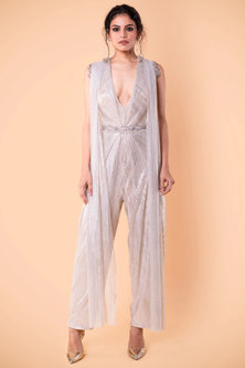 Ivory Draped Jumpsuit In Crinkled Tissue by Tarun Tahiliani