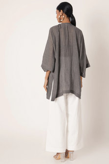 Grey Embroidered Top With Side Slit by The Grey Heron