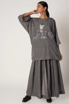 Grey Embroidered Top With Shoulder Tie-Up by The Grey Heron