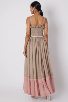 Beige Embroidered Dress With Ruching by The Grey Heron