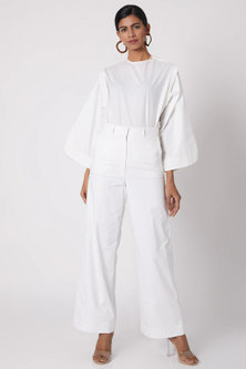 White High Waisted Pants by The Grey Heron