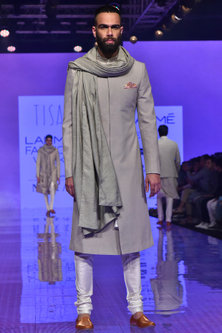 Stone Beige & Ivory Floral Embroidered Sherwani Set by TISA