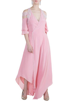 Dusty Pink Embroidered Wrap Dress by Tisharth by Shivani