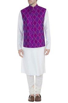Purple Ikat Nehru Jacket by Tisha Saksena Men