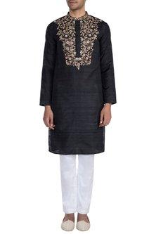 Black Hand Embroidered Kurta by Tisha Saksena Men
