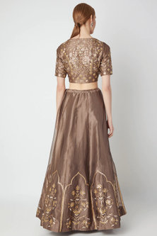 Brown Floral Embroidered Lehenga Set by The Jaipur Story