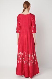 Red Embroidered Anarkali Gown With Dupatta by The Jaipur Story